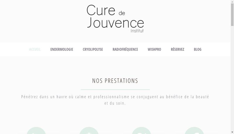 Capture d'écran du site de Cure de Jouvence
