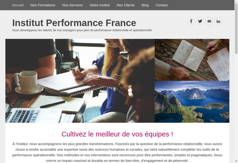 Capture d'écran du site de Institut Performance France