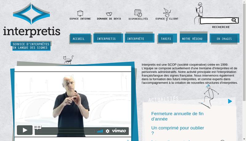 Capture d'écran du site de Interpretis