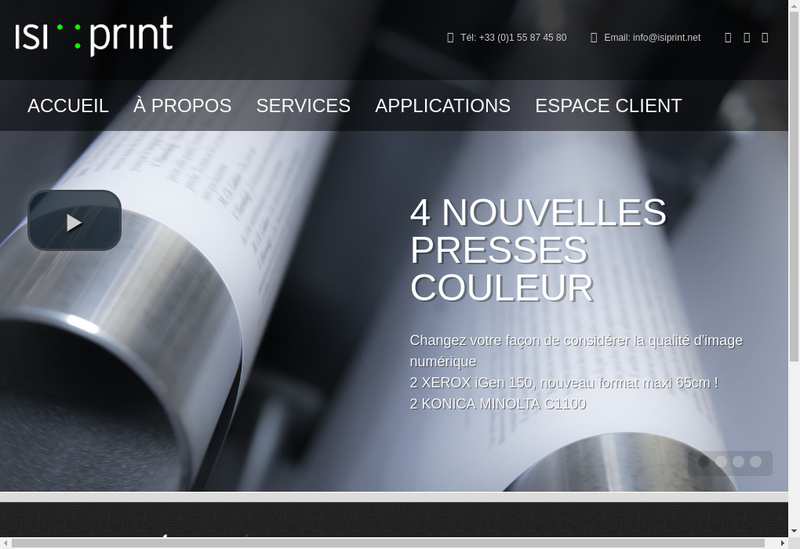 Capture d'écran du site de Isiprint