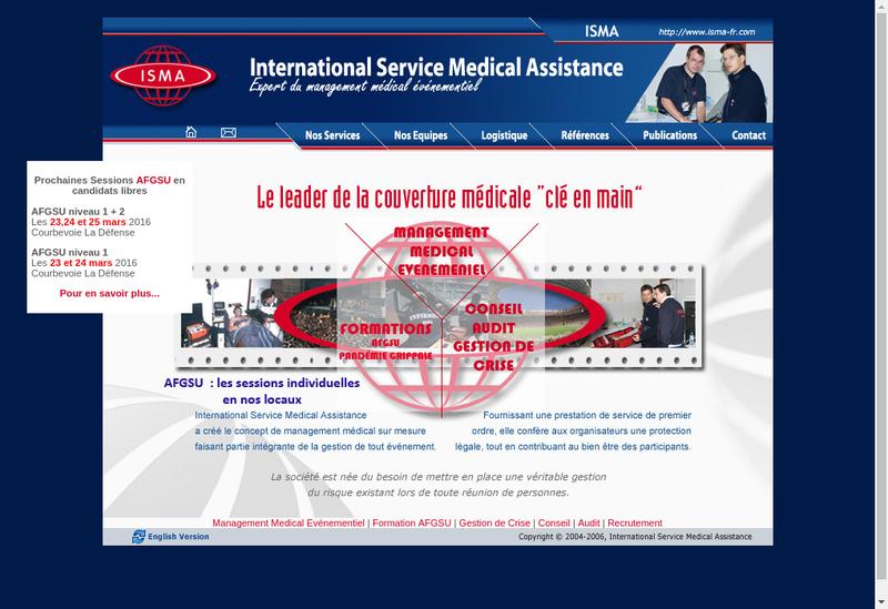 Capture d'écran du site de International Service Medical Assistan