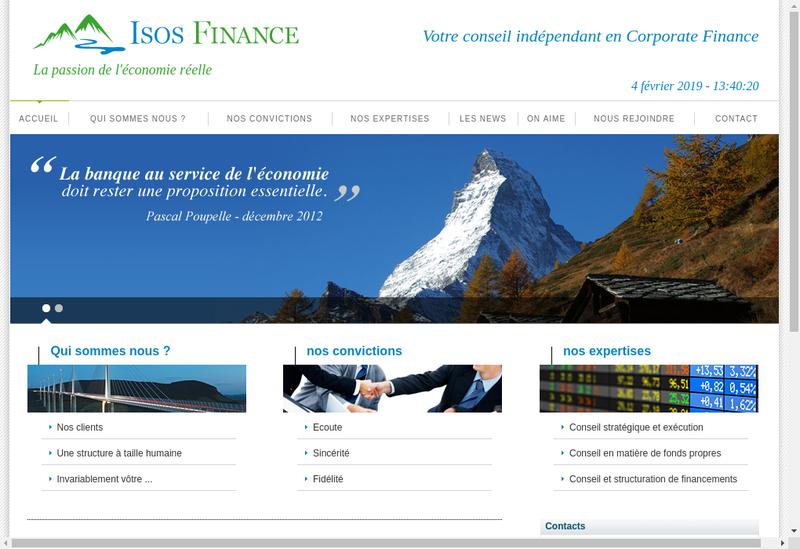 Capture d'écran du site de Isos Finance