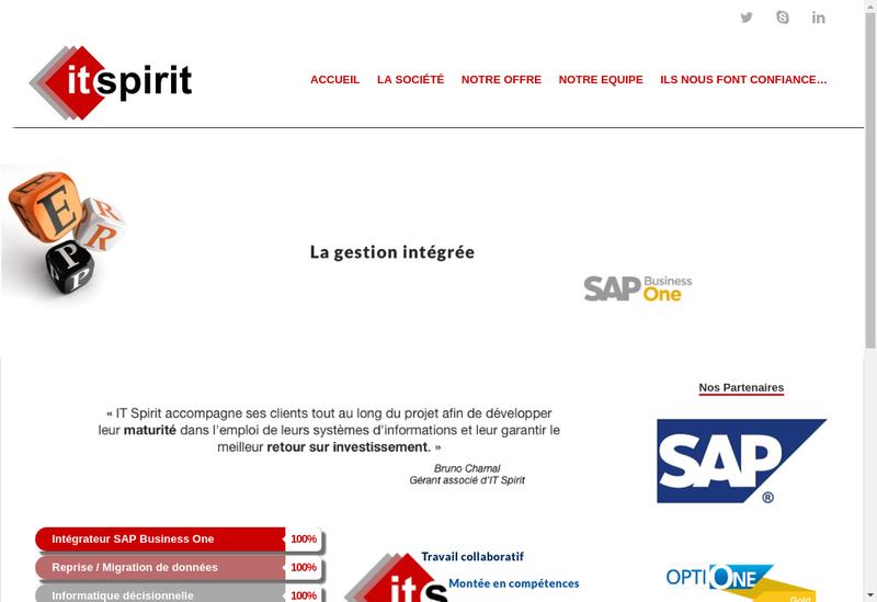 Capture d'écran du site de It Spirit