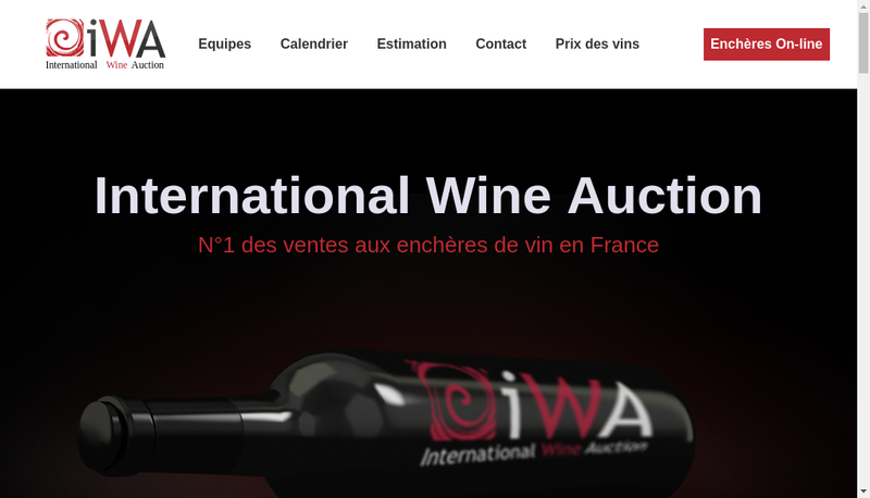 Capture d'écran du site de Iwa Auction
