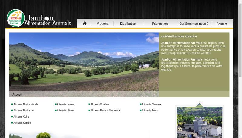 Capture d'écran du site de Jambon Alimentation Animale