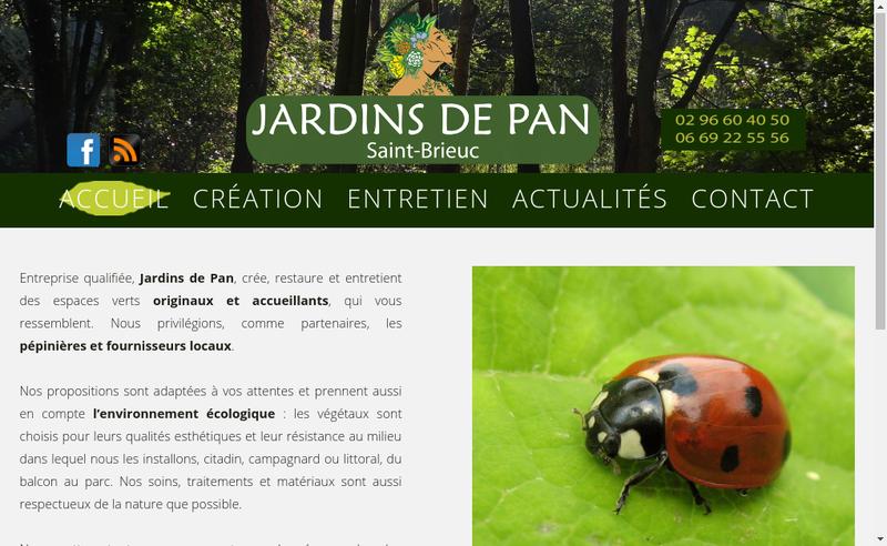 Capture d'écran du site de Jardins de Pan