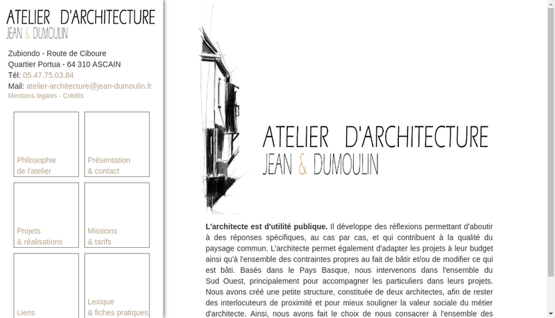 Capture d'écran du site de Atelier d'Architecture Jean & Dumoulin