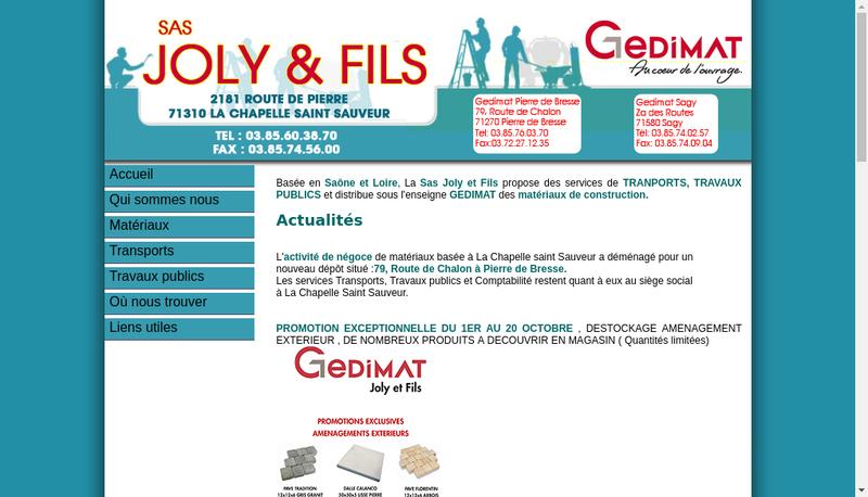 Capture d'écran du site de Joly et Fils Travaux Publics et Transports