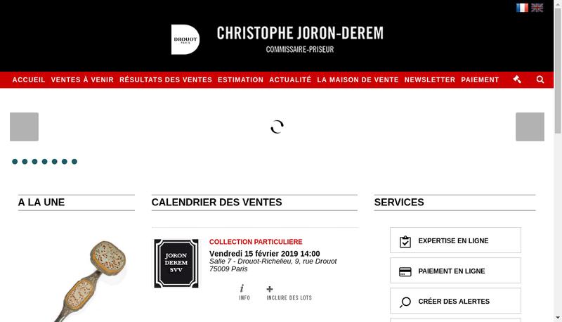 Capture d'écran du site de Christophe Joron Derem SAS