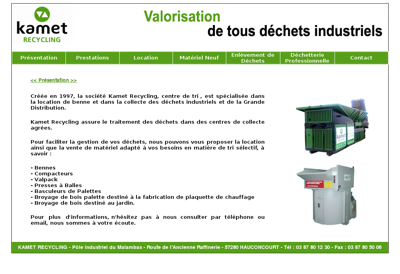 Capture d'écran du site de Kamet