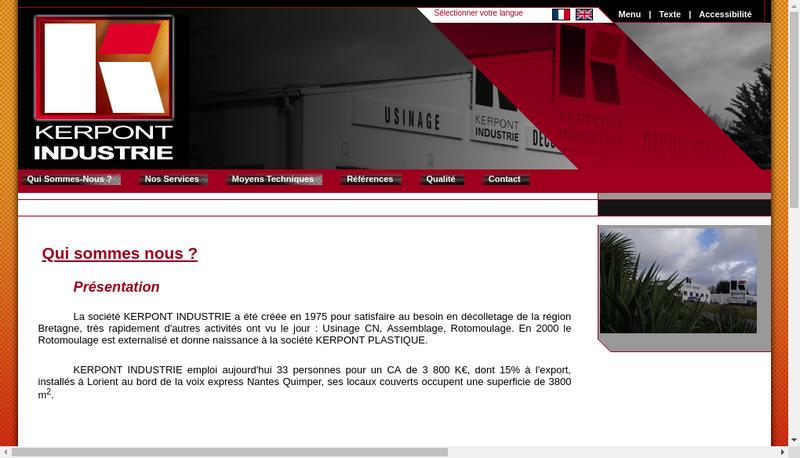 Capture d'écran du site de Kerpont Industrie
