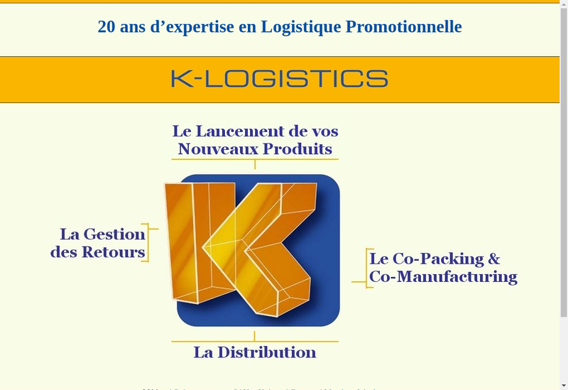 Capture d'écran du site de K Logistics