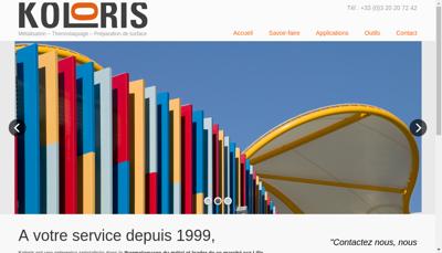 Capture d'écran du site de Koloris