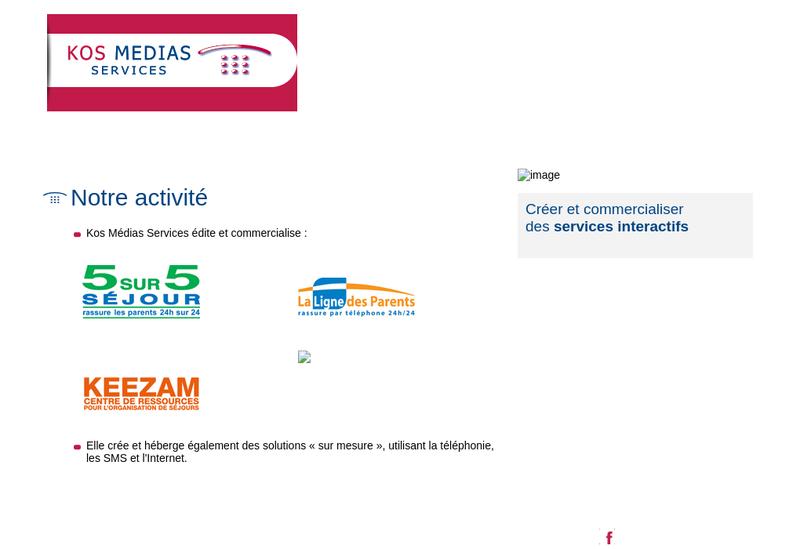 Capture d'écran du site de Kos Medias Services