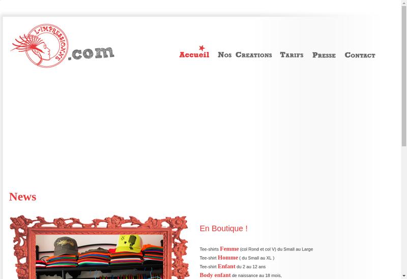 Capture d'écran du site de L-Impressionne