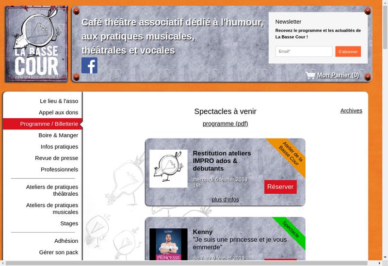 Capture d'écran du site de La Basse Cour