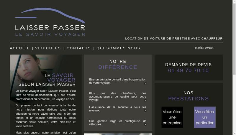 Capture d'écran du site de Laisser Passer