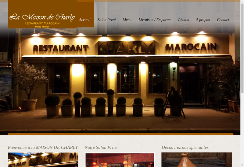 Capture d'écran du site de Restaurant Charly