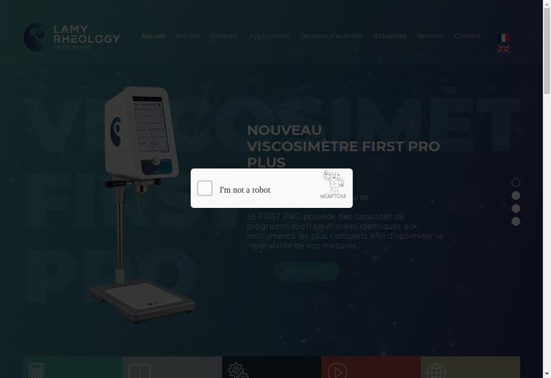 Capture d'écran du site de Lamy Rheology