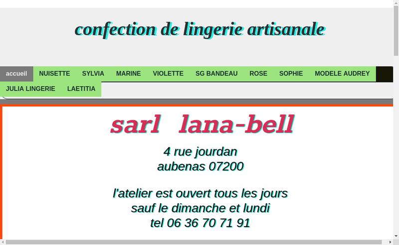 Capture d'écran du site de Lana Bell