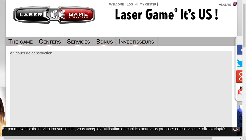 Capture d'écran du site de Laser Game Equipement