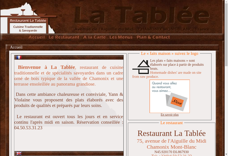 Capture d'écran du site de La Tablee