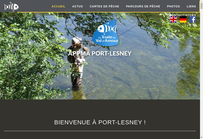 Capture d'écran du site de La Truite du Val d'Amour