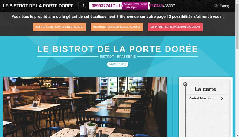 Capture d'écran du site de Le Bistrot de la Porte Doree