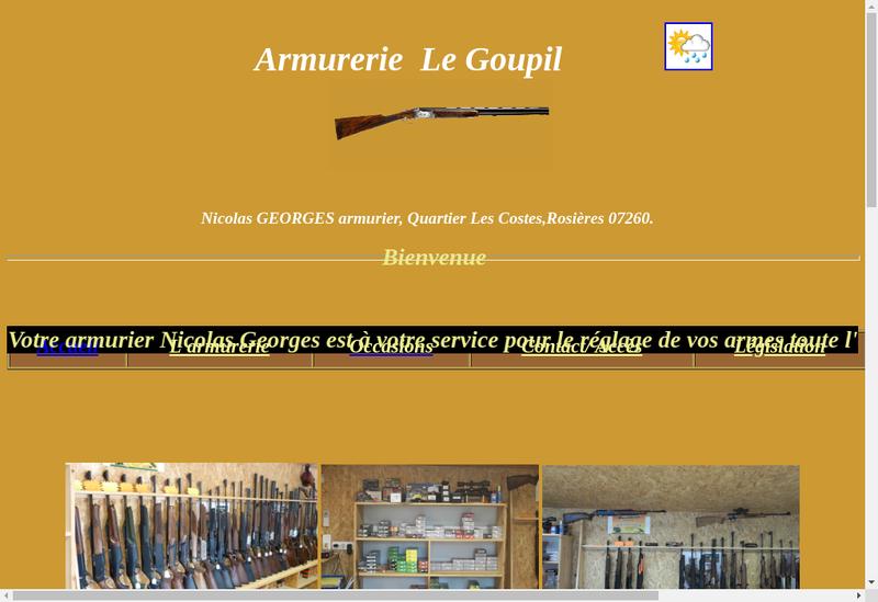 Capture d'écran du site de Armurerie le Goupil