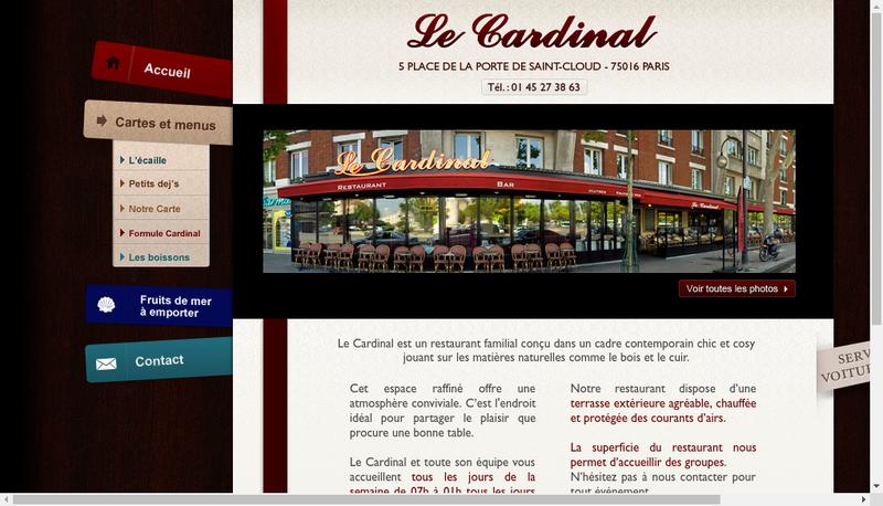 Capture d'écran du site de Le Cardinal