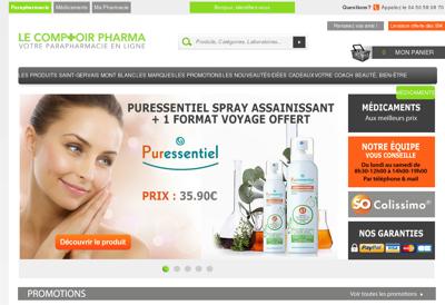 Capture d'écran du site de Pharmacie Favreau