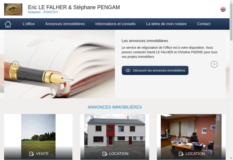 Capture d'écran du site de Eric Falher Stephane Pengam Notaires