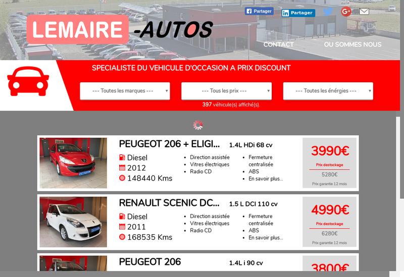 Capture d'écran du site de Lemaire Automobile