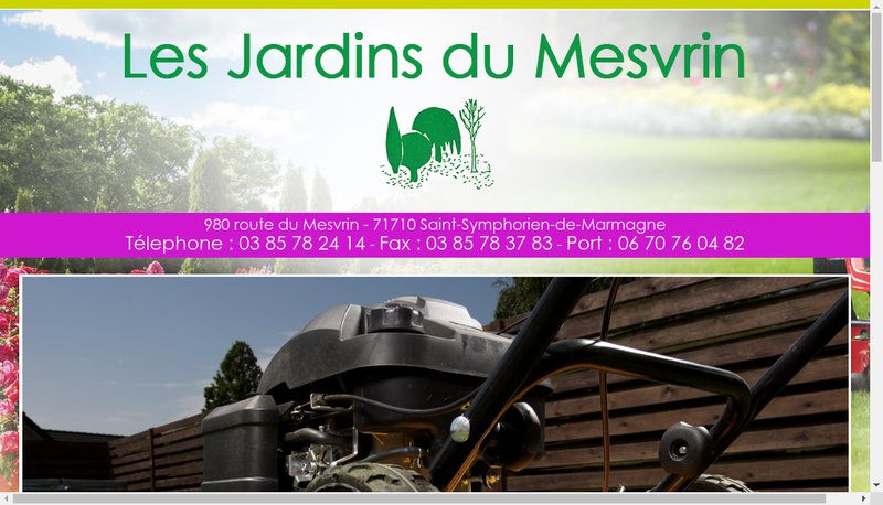 Capture d'écran du site de Les Jardins du Mesvrin