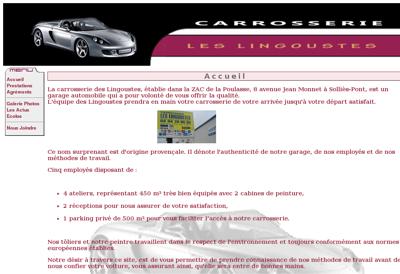 Capture d'écran du site de Carrosserie les Lingoustes