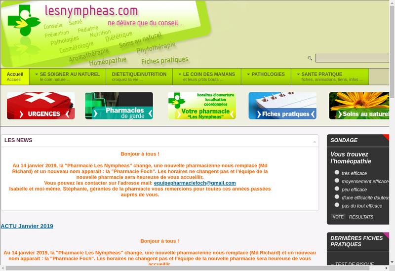 Capture d'écran du site de Pharmacie les Nympheas