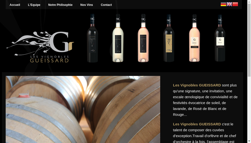 Capture d'écran du site de Domaine Gueissard