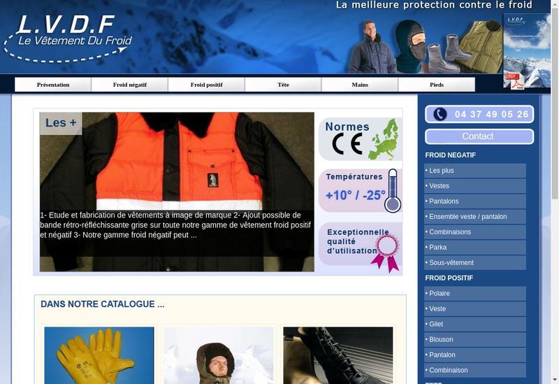 Capture d'écran du site de Le Vetement du Froid