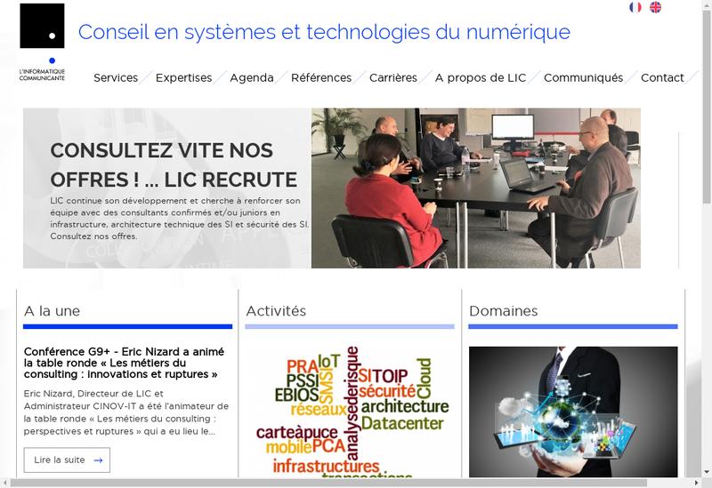 Capture d'écran du site de L'Informatique Communicante