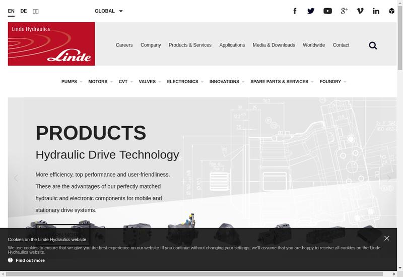Capture d'écran du site de Linde Hydraulics France SARL