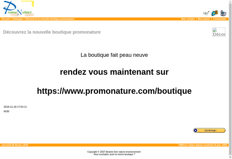 Capture d'écran du site de Promonature