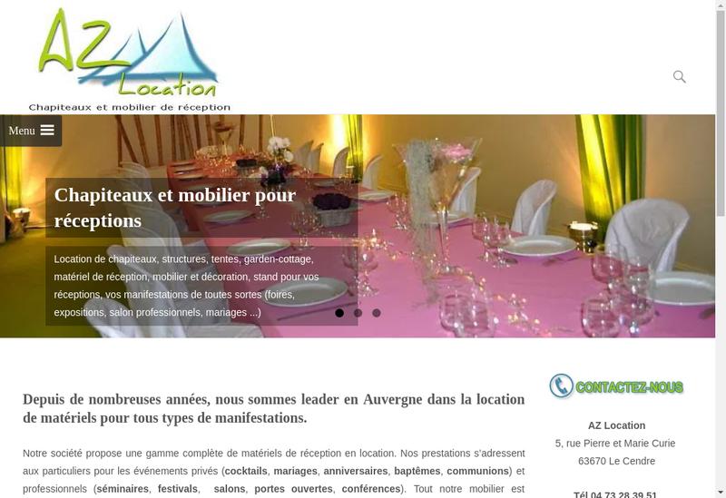 Capture d'écran du site de Az Location