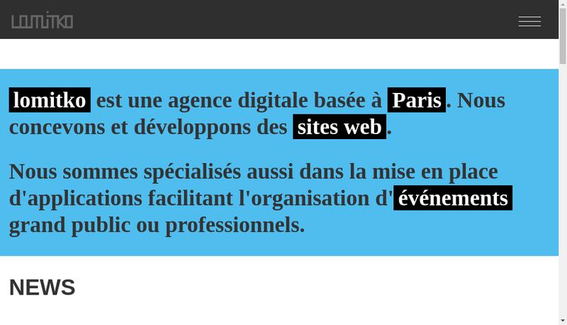 Capture d'écran du site de Lomitko