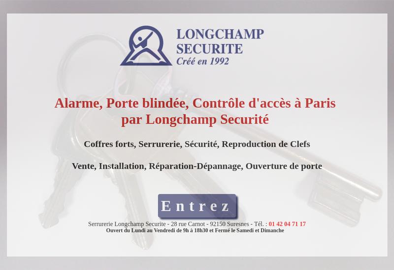 Capture d'écran du site de Longchamp Securite