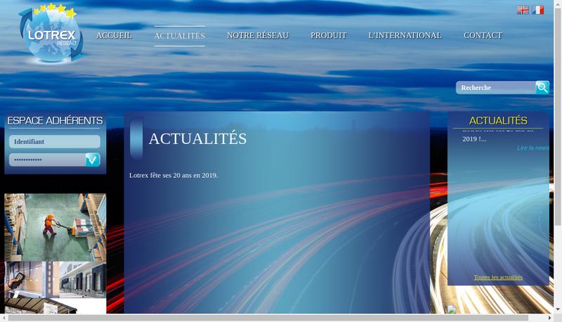 Capture d'écran du site de Lotrex