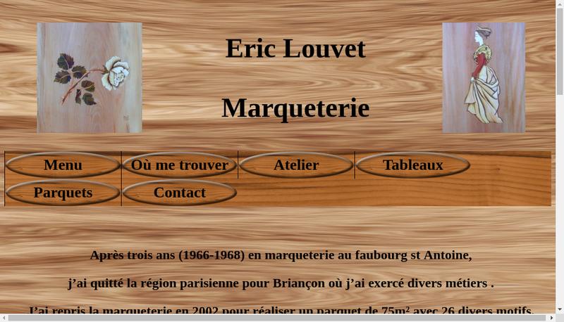 Capture d'écran du site de Eric Louvet