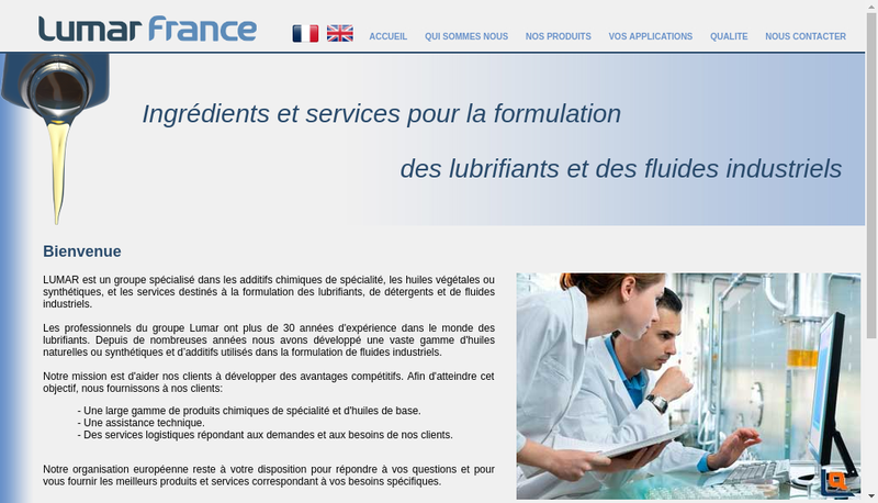 Capture d'écran du site de Lumar France