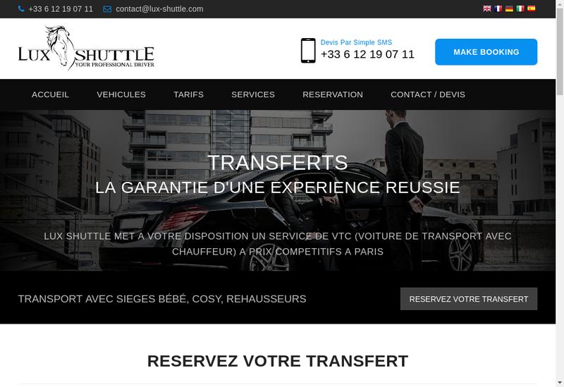 Capture d'écran du site de Lux Shuttle