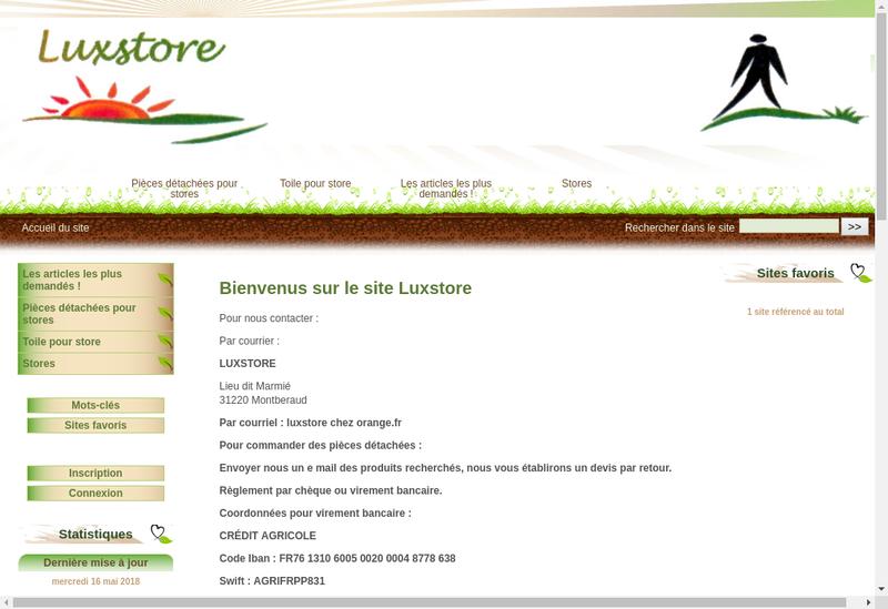 Capture d'écran du site de Luxstore