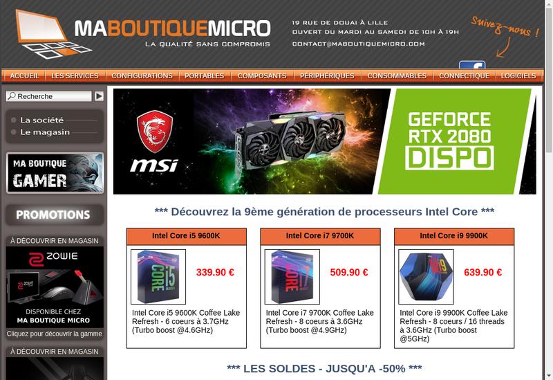 Capture d'écran du site de Ma Boutique Micro